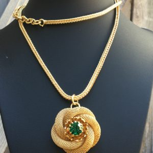 24 K Gold Rosebud Mesh Necklace