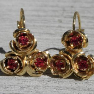 24 K gold Rose bouquet earring
