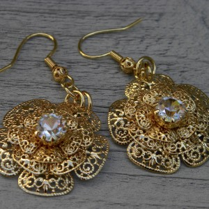24 K gold Triple paddle earring